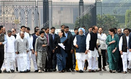 Congress Party delegation led by party President Sonia Gandhi (C) and Former prime minister Manmohan Singh (5-R) after a meeting with India's President Ram Nath Kovind at the President House in New Delhi, India, 27 February 2020. Top congress leadership met the Indian president to  submit a memorandum over the violence in Delhi after 24 people have been killed in clashes that broke out between supporters and opponents of the controversial Citizenship Amendment Act (CAA).