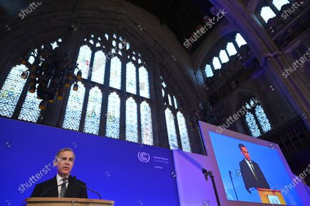 Governor of The Bank of England Mark Carney delivers a speech at the Launch of COP26 Private Finance Agenda event at he Guildhall in London, Britain, 27 February 2020. The 2020 United Nations Climate Change Conference, known as COP26, is scheduled to be held in Glasgow, Scotland from 9 to 19 November 2020 under the presidency of the UK government.