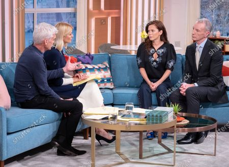 Phillip Schofield and Holly Willoughby with Anna Friel and David Tait