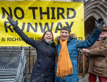 MP for Richmond Park, Sara Olney who beat Zac Goldsmith in the last general election, and Caroline Pidgeon Leader of the LibDems in the London Assembley celebrate at the Hight Court London as Heathrow's third runway is blocked by the Court of Appeal on environmental grounds.