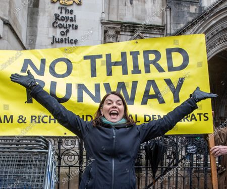 MP for Richmond Park, Sara Olney who beat Zac Goldsmith in the last general election, celebrates at the Hight Court London as Heathrow's third runway is blocked by the Court of Appeal on environmental grounds.