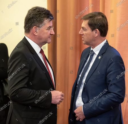 Slovakian Foreign Minister Miroslav Lajcak (L) and Slovenia Foreign minister Miro Cerar (R) arrive for a press conference after the Visegrad Group (V4) and Western Balkan Foreign Ministers meeting in Prague, Czech Republic, 27 February 2020.