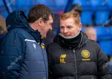 St. Johsntone Manager Tommy Wright chats with Celtic Manager Neil Lennon in the technical area before kick off.