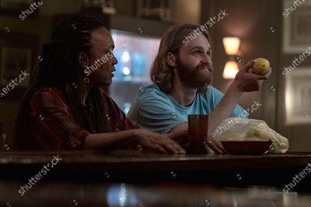 """Avis-Marie Barnes as Anita and Wyatt Russell as Sean """"Dud"""" Dudley"""