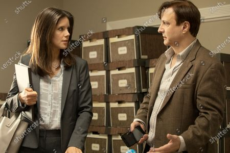 Sonya Cassidy as Liz Dudley and Bronson Pinchot as Dr. Kimbrough