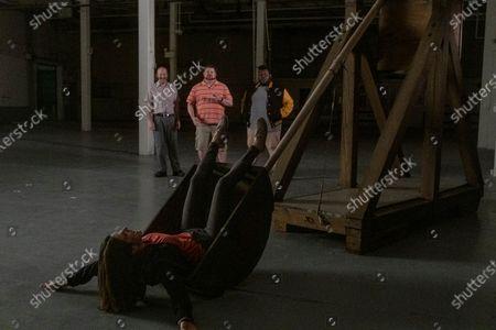 Sonya Cassidy as Liz Dudley, David Ury as Champ, Daniel Stewart Sherman as Jeremy, Atkins Estimond as Gerson - Lodge 49 _ Season 2 - Photo Credit: Jackson Lee Davis/AMC