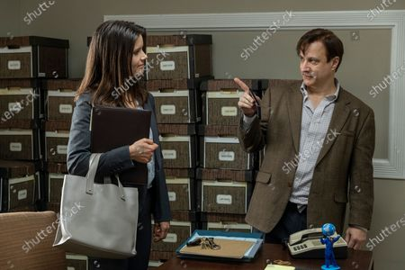 Stock Picture of Sonya Cassidy as Liz Dudley and Bronson Pinchot as Dr. Kimbrough