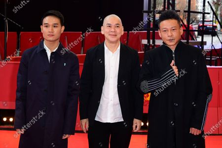 Anong Houngheuangsy, director Tsai Ming-liang and Lee Kang-Sheng arrive for the premiere of 'Rizi (Days)' during the 70th annual Berlin International Film Festival (Berlinale), in Berlin, Germany, 27 February 2020. The movie is presented in the Official Competition at the Berlinale that runs from 20 February to 01 March 2020.