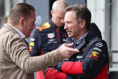 27th February 2020; Circuit De Barcelona Catalunya, Barcelona, Catalonia, Spain; Formula 1 2nd Pre season Testing Day Two; Christian Horner, Team Principal of Red Bull Racing talks with Jos Verstappen