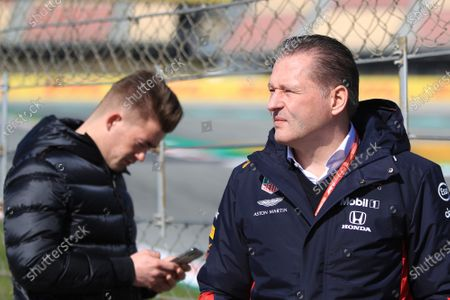 27th February 2020; Circuit De Barcelona Catalunya, Barcelona, Catalonia, Spain; Formula 1 2nd Pre season Testing Day Two; Father Jos Verstappen watches his son Max Verstappen in the Aston Martin Red Bull Racing car