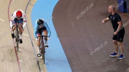 Katy Marchant of Britain (L) and Kelsey Mitchell of Canada (C) compete during the women's Sprint Round of 16 at the UCI Track Cycling World Championships in Berlin, Germany, 27 February 2020.