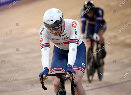 Stock Photo of Jason Kenny of Great Britain after crossing the finish line in Heat 1 of the Men's Keirin semi finals at the UCI Track Cycling World Championships in Berlin, Germany, 27 February 2020.