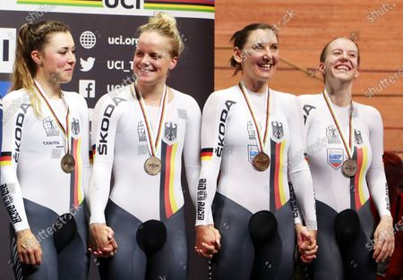 Bronze medalists Team Germany (from left) Lisa Klein, Gudrun Stock, Lisa Brennauer and Franziska Brausse during the medal ceremony for the Women's Team Pursuit final at the UCI Track Cycling World Championships in Berlin, Germany, 27 February 2020.