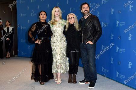 Salma Hayek, Elle Fanning, Sally Potter and Javier Bardem