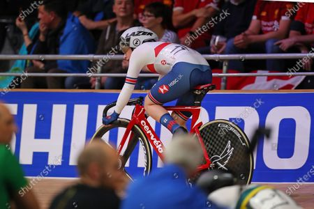 Laura Kenny of Great Britain competing in the Women's omnium