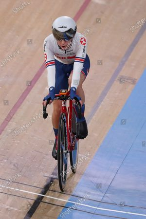 Laura Kenny of Great Britain competing in the Women's omnium, Elimination