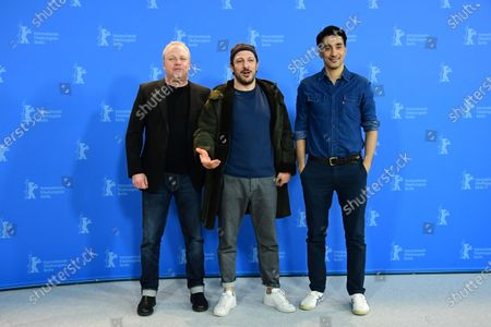 Stock Picture of Producers Christian Springer, Fahri Yardim and Amir Hamz pose during the 'Curveball' photocall during the 70th annual Berlin International Film Festival (Berlinale), in Berlin, Germany, 27 February 2020. The movie is presented in the Berlinale Special section at the Berlinale that runs from 20 February to 01 March 2020.