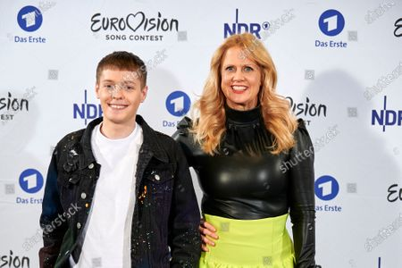 Slovenian singer-songwriter Ben Dolic (L) and Barbara Schoeneberger (R) pose during the presentation of 'Unser Lied fuer Rotterdam' called 'Violent Thing' as the German entry for the Eurovision Song Contest 2020 in Hamburg, northern Germany, 27 February 2020. The Eurovision Song Contest (ESC) takes place from 12 to 16 May 2020 in Rotterdam, The Netherlands.