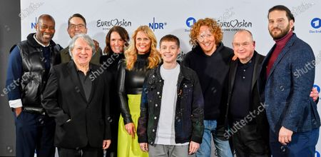 Joe Chialo, Christian Blenker, Peter Urban, Alexandra Wolfslast, Barbara Schoeneberger, Ben Dolic, Michael Schulte, Thomas Schreiber and Boris Milanov pose during the presentation of 'Unser Lied fuer Rotterdam' called 'Violent Thing' by Slovenian singer-songwriter Ben Dolic as the German entry for the Eurovision Song Contest 2020 in Hamburg, northern Germany, 27 February 2020. The Eurovision Song Contest (ESC) takes place from 12 to 16 May 2020 in Rotterdam, The Netherlands.