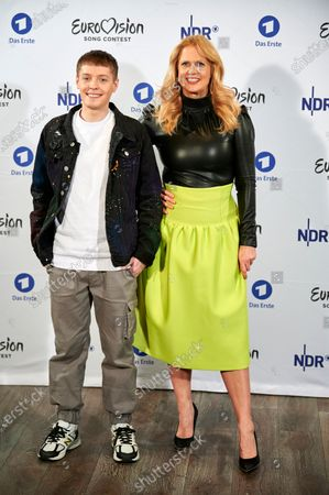 Stock Picture of Slovenian singer-songwriter Ben Dolic (L) and Barbara Schoeneberger (R) pose during the presentation of 'Unser Lied fuer Rotterdam' called 'Violent Thing' as the German entry for the Eurovision Song Contest 2020 in Hamburg, northern Germany, 27 February 2020. The Eurovision Song Contest (ESC) takes place from 12 to 16 May 2020 in Rotterdam, The Netherlands.