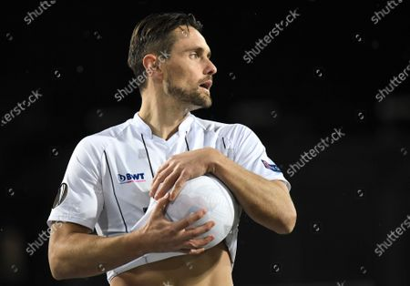 LASK's James Holland holds the ball during the UEFA Europa League round of 32 second leg soccer match between LASK Linz and AZ Alkmaar in Linz, Austria, 27 February 2020.