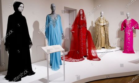 Fashion designs, including a design by Dolce & Gabbana (L), that was worn by Saudi businesswoman Her Highness Deena Aljuhani Abdulaziz and a design by Marchesa (2-L), that was worn by entrepreneur Sheikha Raya Al-Khalifa are displayed as part of the new exhibit 'Contemporary Muslim Fashion' at the Cooper Hewitt, Smithsonian Design Museum in New York, New York, USA, 27 February 2020. The exhibit is first major museum exhibit to 'explore the rise of modest fashion industry', according to the museum, and is intended to explore the ways in which Muslim women embrace and express style. The show, which runs from 28 February until 23 August 2020, features 80 ensembles and photographs.