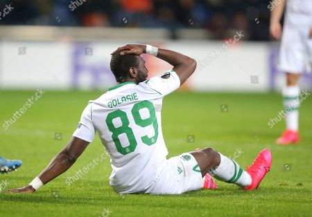 Sporting's Yannick Bolasie, reacts after Basaksehir scored a goal against his team, during their Europa League Group Round of 32 second leg soccer match between Basaksehir and Sporting Lisbon, in Istanbul
