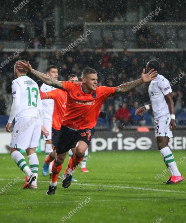 Basaksehir's Martin Skrtel (C) celebrates scoring the 1-0 lead during the UEFA Europa League round of 32, 2nd leg soccer match between Basaksehir Istanbul and Sporting CP at the Fatih Terim satdium in Istanbul, Turkey, 27 February 2020.