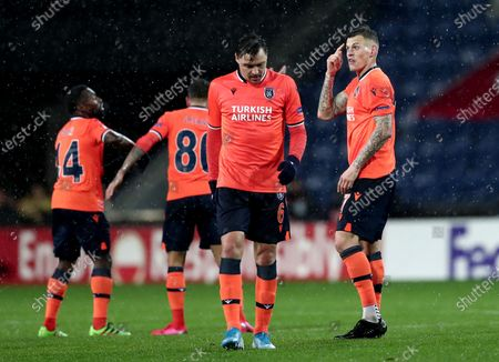 Basaksehir's Martin Skrtel (C) reacts during the UEFA Europa League round of 32, 2nd leg soccer match between Basaksehir Istanbul and Sporting CP at the Fatih Terim satdium in Istanbul, Turkey, 27 February 2020.