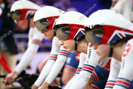Laura Kenny of Great Britain before the Women's Team Pursuit First Round.