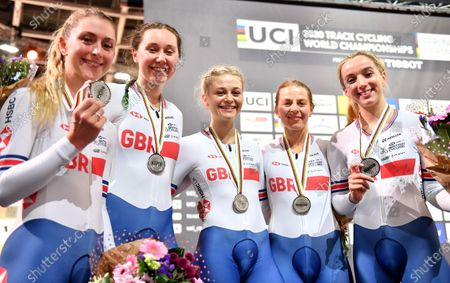 Stock Picture of Great Britains Eleanor Dickinson, Neah Evans, Katie Archibald, Elinor Barker and Laura Kenny on the podium with silver medal from Women's Team Pursuit.