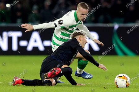Celtic's Leigh Griffiths (L) in action against Copenhagen's Guillermo Varela (R) during the UEFA Europa League round of 32, second leg, soccer match between Celtic Glasgow and FC Copenhagen in Glasgow, Britain, 27 February 2020.