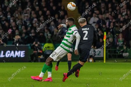 Odsonne Edouard of Celtic FC gets forced out of the challenge by Guillermo Varela of FC Copenhagen during the Europa League match between Celtic and FC Copenhagen at Celtic Park, Glasgow