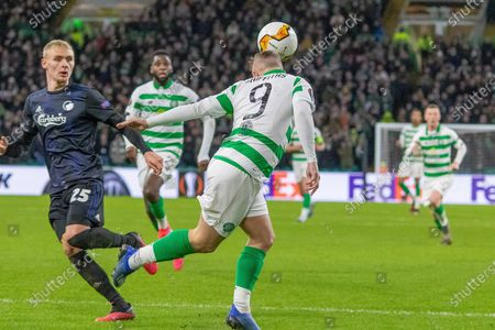 Leigh Griffiths of Celtic FC with a header during the Europa League match between Celtic and FC Copenhagen at Celtic Park, Glasgow