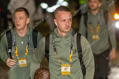 Leigh Griffiths (#9) arrives at Parkhead ahead of the Europa League match between Celtic and FC Copenhagen at Celtic Park, Glasgow