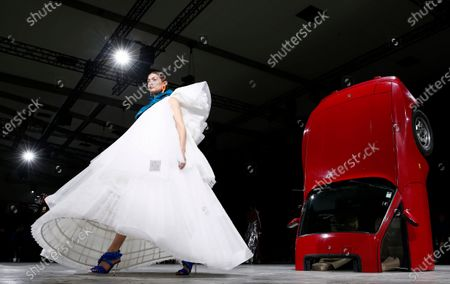 US model Gigi Hadid presents a creation by Virgil Abloh for Off White fashion house during the Paris Fashion Week, in Paris, France, 27 February 2020. The Fall-Winter 2020/21 women's collection runs from 24 February to 03 March 2020.