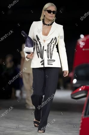 Yolanda Hadid presents a creation by Virgil Abloh for Off White fashion house during the Paris Fashion Week, in Paris, France, 27 February 2020. The Fall-Winter 2020/21 women's collection runs from 24 February to 03 March 2020.