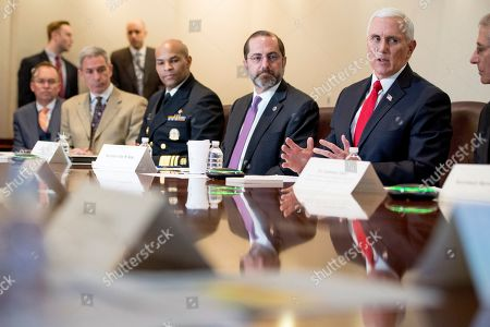 Mike Pence, Alex Azar, Mick Mulvaney, Ken Cuccinelli, Jerome Adams, Anthony Fauci. Vice President Mike Pence, accompanied by left, President Donald Trump's acting Chief of Staff Mick Mulvaney, acting Deputy Secretary of Homeland Security Ken Cuccinelli, Surgeon General Jerome Adams, Health and Human Services Secretary Alex Azar and National Institute for Allergy and Infectious Diseases Director Dr. Anthony Fauci, speaks at a coronavirus task force meeting at the Department of Health and Human Services, in Washington