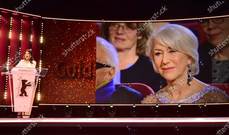 Iris Berben speaks during the Honorary Golden Bear gala at the 70th annual Berlin International Film Festival (Berlinale), in Berlin, Germany, 27 February 2020. Helen Mirren received this years Honorary Golden Bear at the Berlinale.