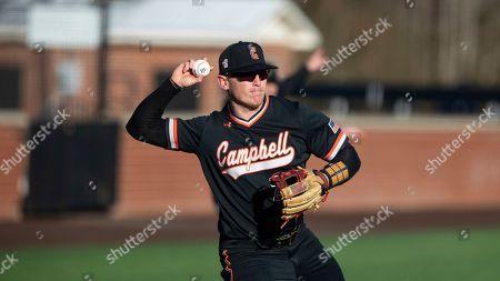 Campbell's Zach Williams (20) makes a throw during an NCAA baseball game, in Buies Creek, N.C