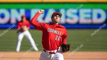 Cornell's Trevor Daniel Davis (26) pitches during an NCAA baseball game, in Durham, N.C
