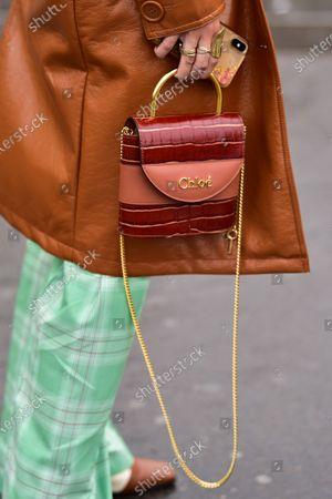 Street Style at Ann Demeulemeester show, Chloe purse detail