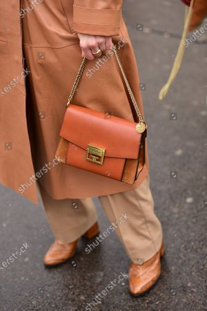 Street Style at Ann Demeulemeester show, Givenchy purse detail