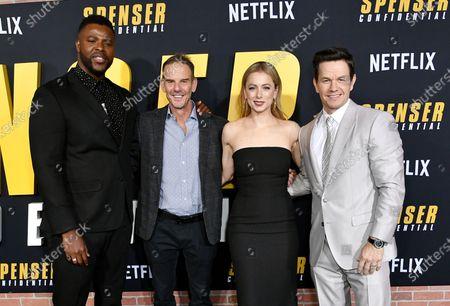 Stock Photo of Winston Duke, Peter Berg, Iliza Shlesinger and Mark Wahlberg