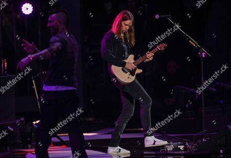James Valentine of Maroon 5 performs at the Viña del Mar International Song Festival at the Quinta Vergara coliseum in Viña del Mar, Chile
