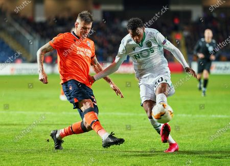 Gonzalo Plata of Sporting CP and Martin Skrtel of Istanbul Basaksehir FK challenging for the ball during Istanbul BaÅYakÅYehir and Sporting CP on BaÅYakÅYehir Fatih Terim Stadium, Istanbul, Turkey