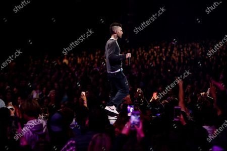 Adam Levine performs with his band Maroon 5 during the Vina del Mar International Song Festival, in Vina del Mar, Chile, 27 February 2020.
