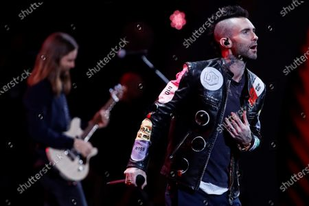 Stock Picture of Adam Levine (R) performs with his band Maroon 5 during the Vina del Mar International Song Festival, in Vina del Mar, Chile, 27 February 2020.