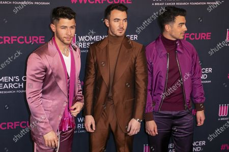 US musicians (L - R) Nick Jonas, Kevin Jonas and Joe Jonas attend the Women's Cancer Research Fund gala at the Beverly Wilshire Hotel in Beverly Hills, California, USA, 27 February 2020.