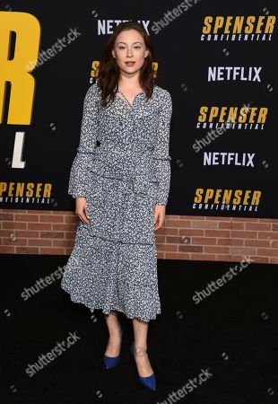 """Mina Sundwall poses at the premiere of the Netflix film """"Spenser Confidential"""" at the Regency Village Theatre, in Los Angeles"""